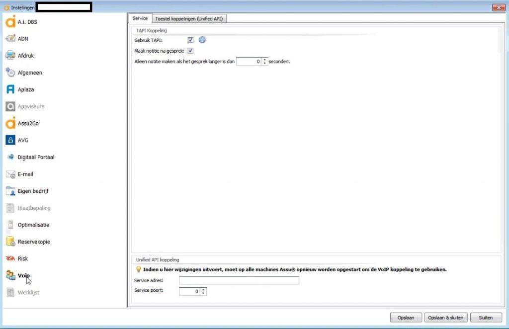 ASSU koppeling VoIP met Xelion Instellingen configuratie ASSU