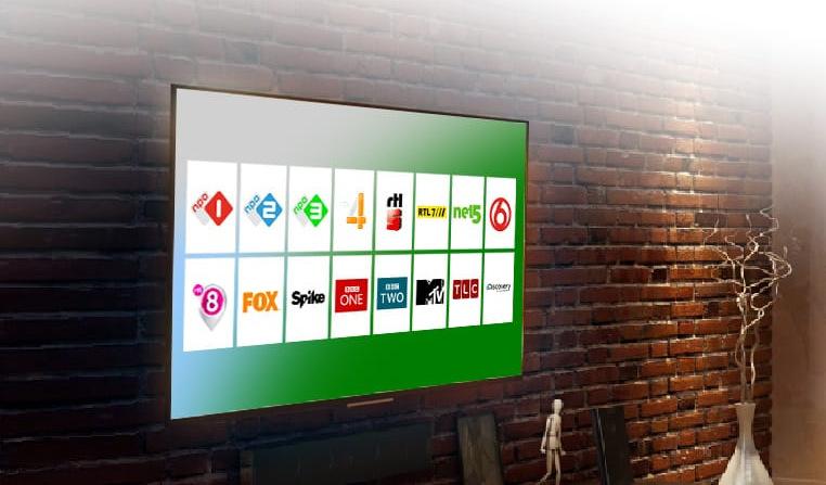 IP-TV zakelijk TV TV scherm met zender logos